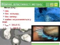 Фізичні властивості метану: Метан (СН4) - газ; без кольору; без запаху; майже...