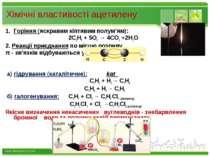 Хімічні властивості ацетилену Горіння (яскравим кіптявим полум'ям): 2С2Н2 + 5...