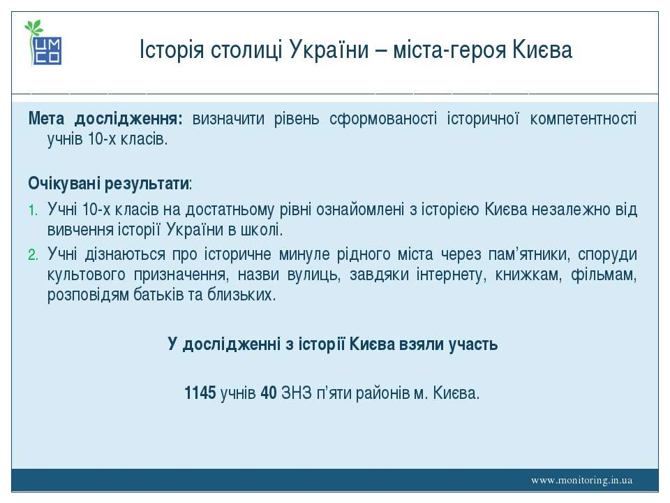 Історія столиці України – міста-героя Києва Мета дослідження: визначити рівен...