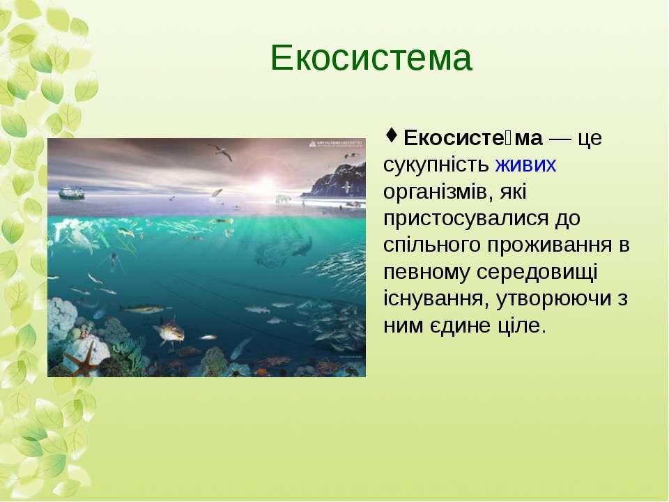 Екосистема Екосисте ма— це сукупністьживих організмів, які пристосувалися д...