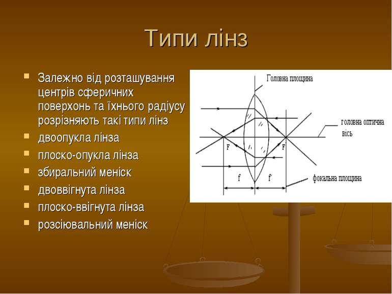 Типи лінз Залежно від розташування центрів сферичних поверхонь та їхнього рад...