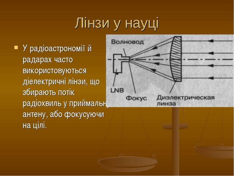 Лінзи у науці У радіоастрономії й радарах часто використовуються діелектричні...