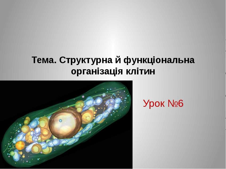 Тема. Структурна й функціональна організація клітин Урок №6