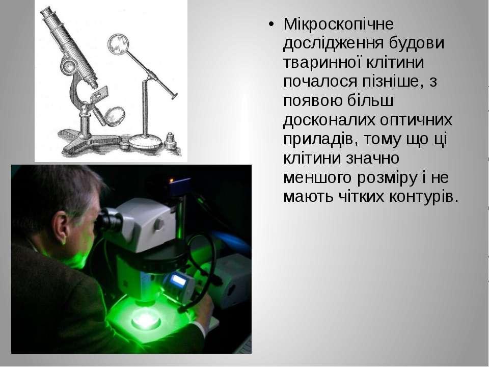 Мікроскопічне дослідження будови тваринної клітини почалося пізніше, з появою...