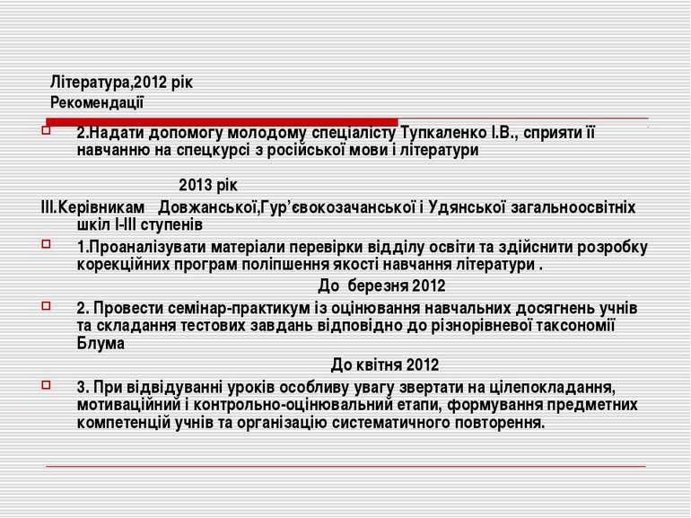 Література,2012 рік Рекомендації 2.Надати допомогу молодому спеціалісту Тупка...