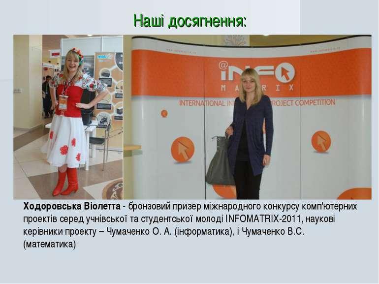 Ходоровська Віолетта - бронзовий призер міжнародного конкурсу комп'ютерних пр...