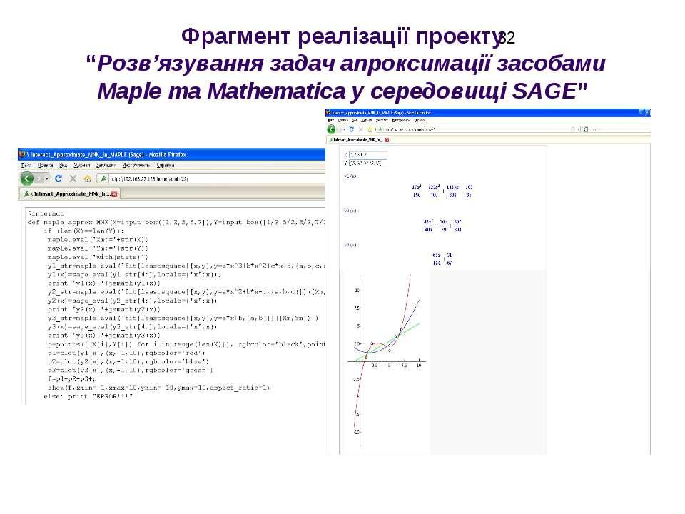 """Фрагмент реалізації проекту """"Розв'язування задач апроксимації засобами Maple ..."""