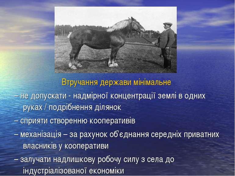 Втручання держави мінімальне – не допускати - надмірної концентрації землі в ...