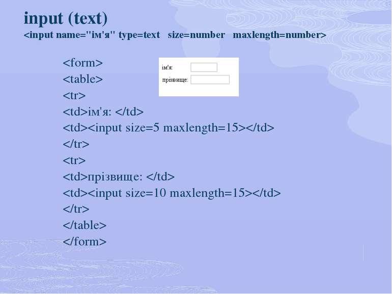 input (text) ім'я: прізвище: