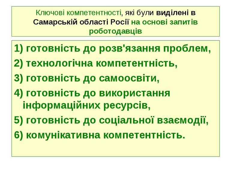 Ключові компетентності, які були виділені в Самарській області Росії на основ...