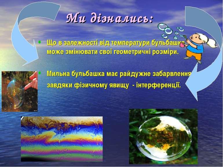 Ми дізнались: Що в залежності від температури бульбашка може змінювати свої г...