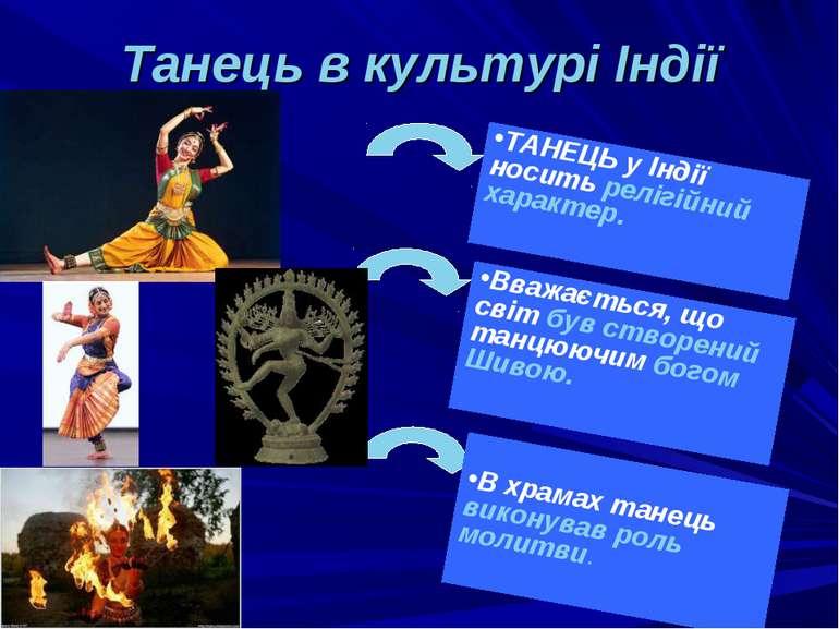 Танець в культурі Індії ТАНЕЦЬ у Індії носить релігійний характер. Вважається...