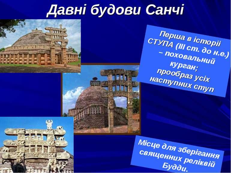 Давні будови Санчі Місце для зберігання священних реліквій Будди. Перша в іст...