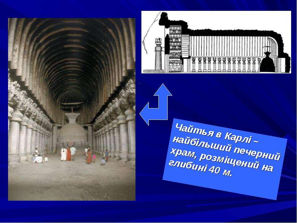 Чайтья в Карлі – найбільший печерний храм, розміщений на глибині 40 м.