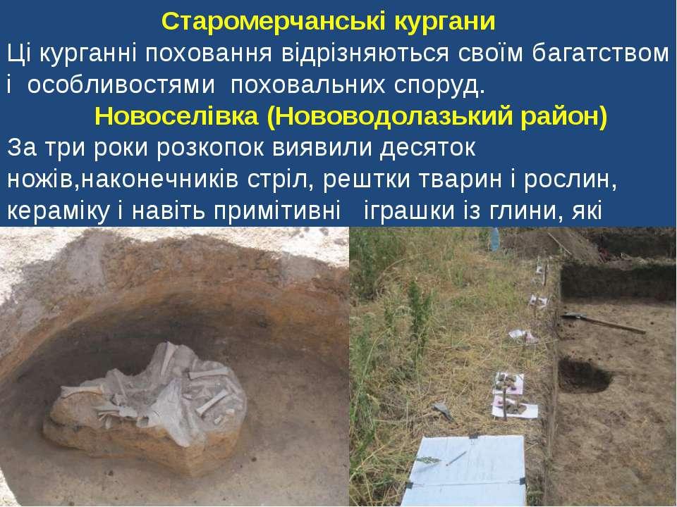 Старомерчанські кургани Ці курганні поховання відрізняються своїм багатством ...