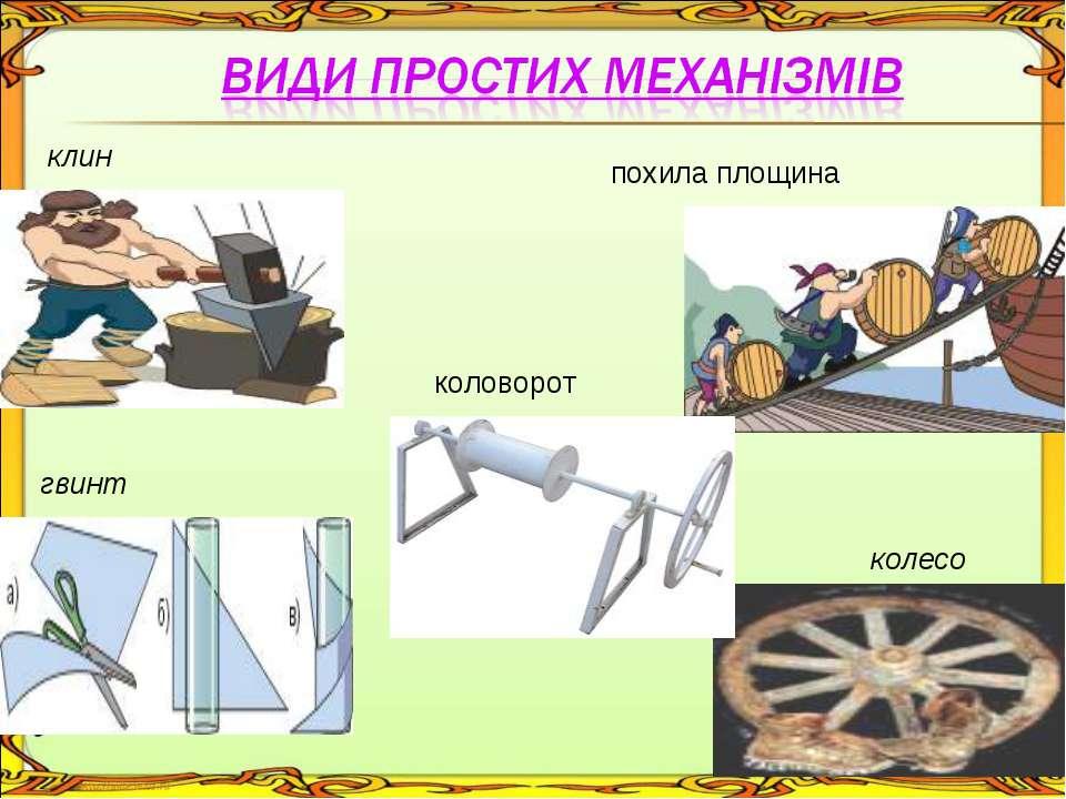 клин похила площина гвинт колесо коловорот