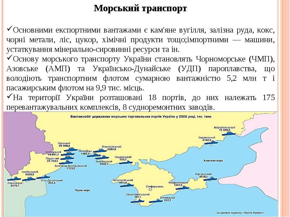 Морський транспорт Основними експортними вантажами є кам'яне вугілля, залізна...