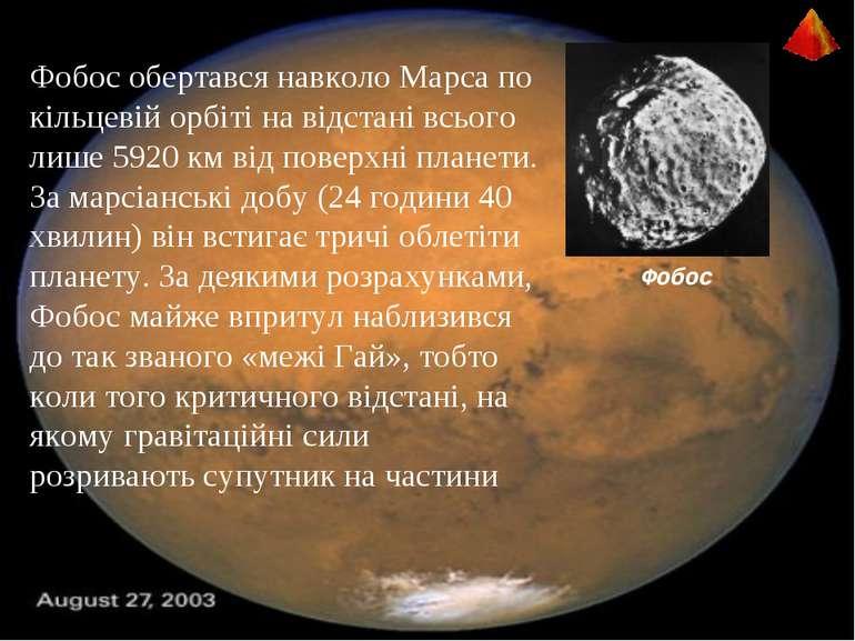 Фобос Фобос обертався навколо Марса по кільцевій орбіті на відстані всього ли...