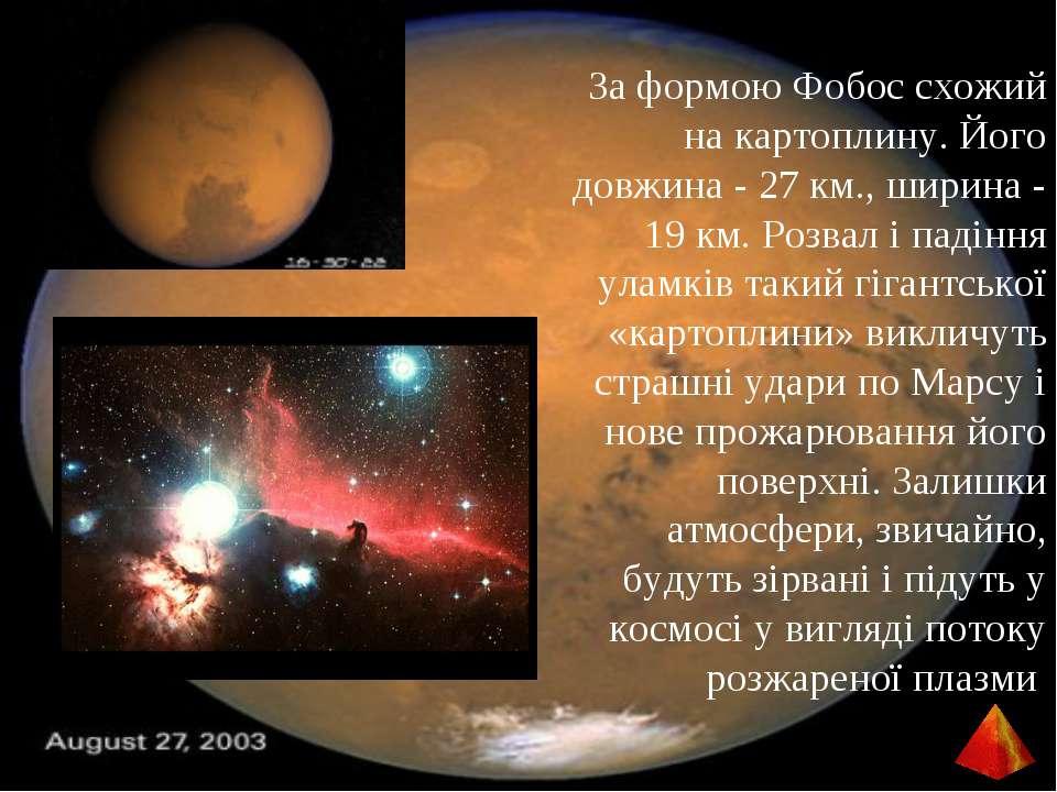 За формою Фобос схожий на картоплину. Його довжина - 27 км., ширина - 19 км. ...