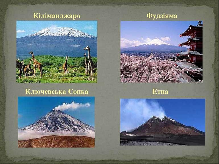 Кіліманджаро Фудзіяма Ключевська Сопка Етна