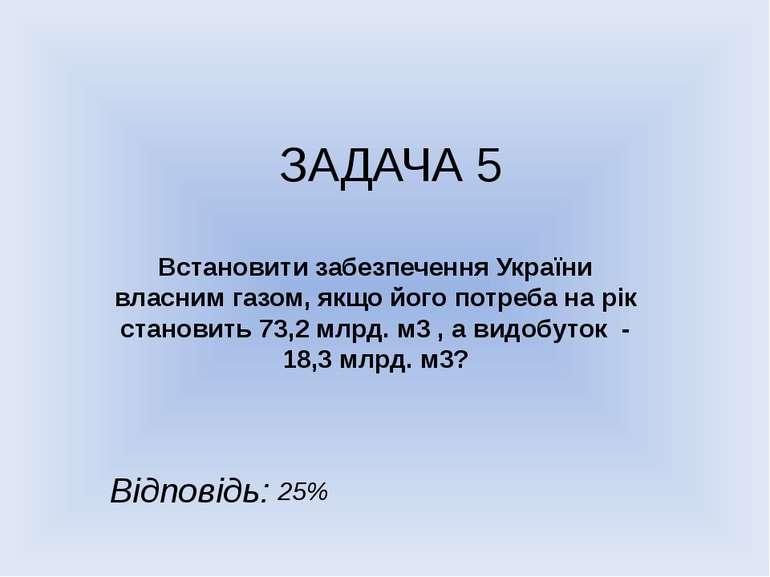 ЗАДАЧА 5 Встановити забезпечення України власним газом, якщо його потреба на ...