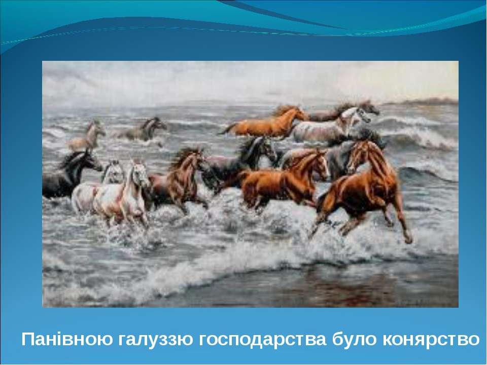 Панівною галуззю господарства було конярство