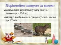Порівняйте тварин за вагою: максимально зафіксовану вагу зеленої анаконди - 2...