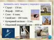 Запишіть вагу тварин у порядку спадання: Страус – 156 кг; Жираф – 1600 кг; Сл...