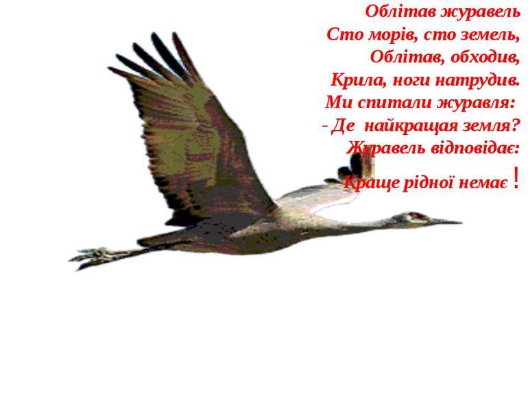Облітав журавель Сто морів, сто земель, Облітав, обходив, Крила, ноги натруди...