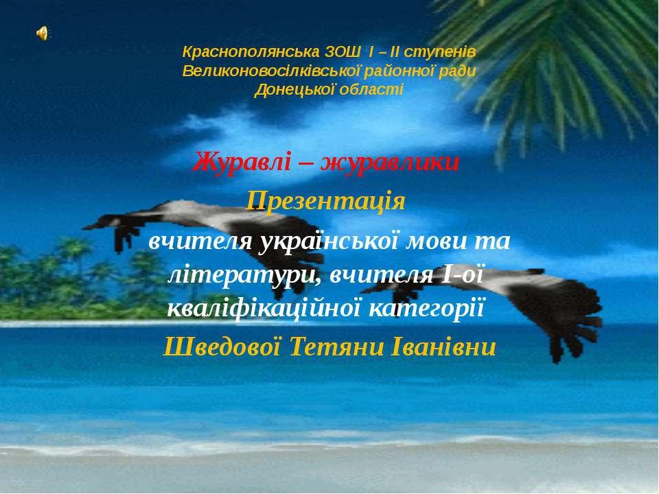 Краснополянська ЗОШ I – II ступенів Великоновосілківської районної ради Донец...