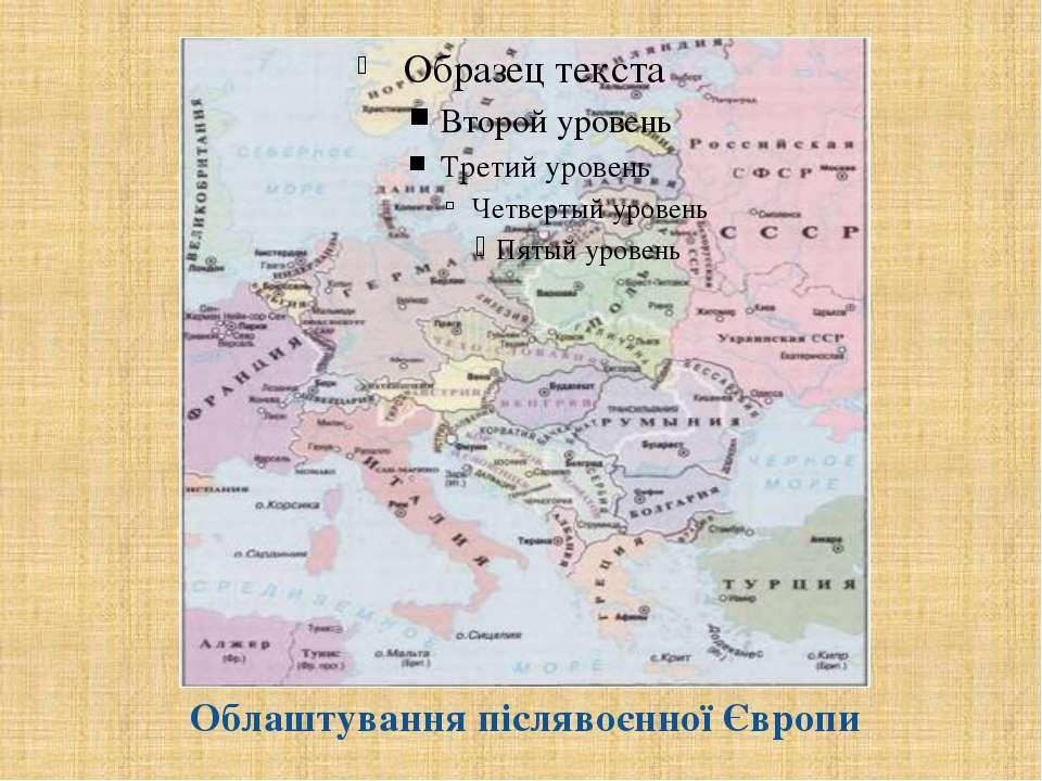 Облаштування післявоєнної Європи