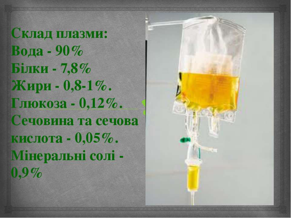 Склад плазми: Вода - 90% Білки - 7,8% Жири - 0,8-1%. Глюкоза - 0,12%. Сечовин...