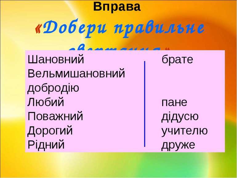 Вправа «Добери правильне звертання» Шановний брате Вельмишановний добродію Лю...