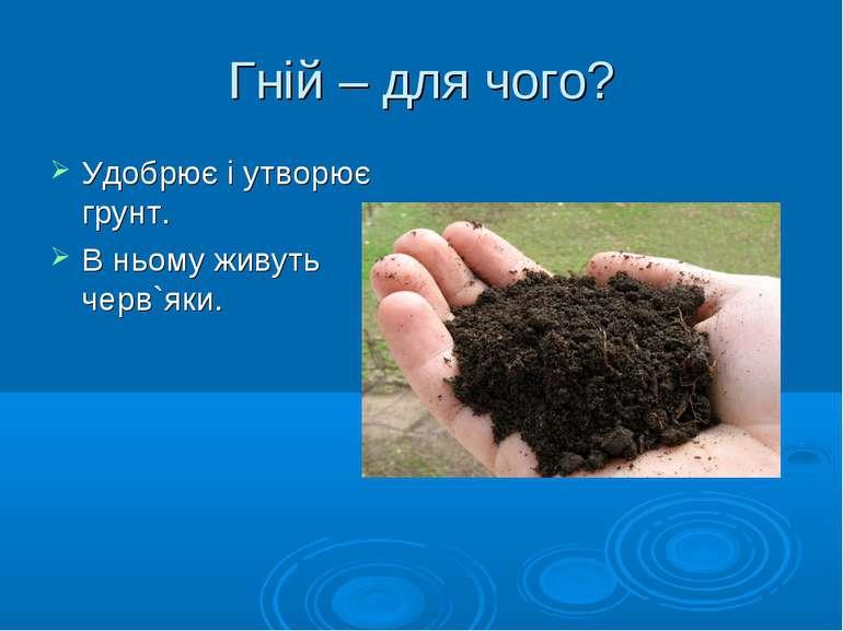 Гній – для чого? Удобрює і утворює грунт. В ньому живуть черв`яки.
