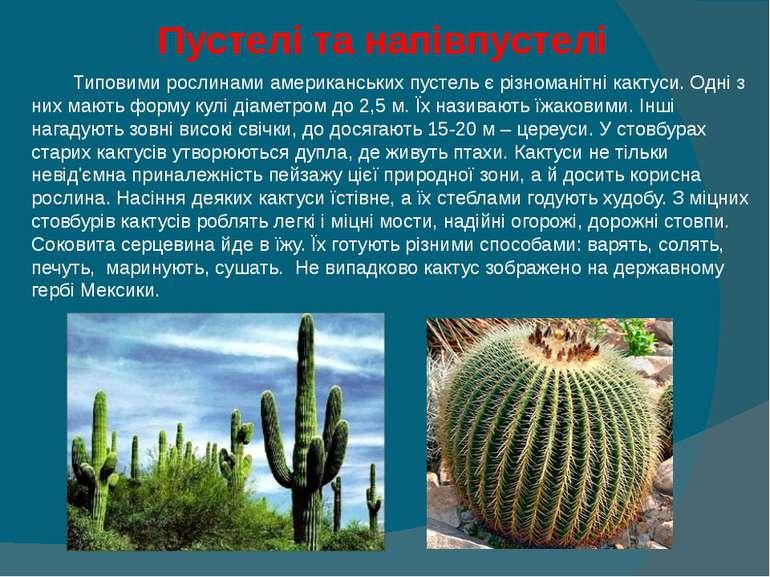 Пустелі та напівпустелі  Типовими рослинами американських пустель є різноман...