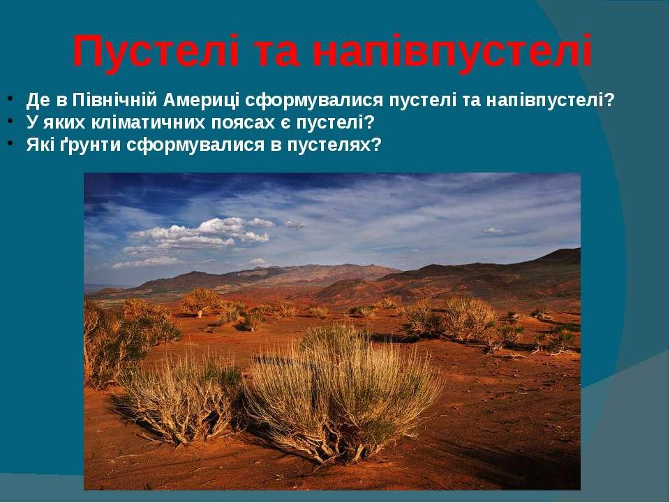 Пустелі та напівпустелі Де в Північній Америці сформувалися пустелі та напівп...