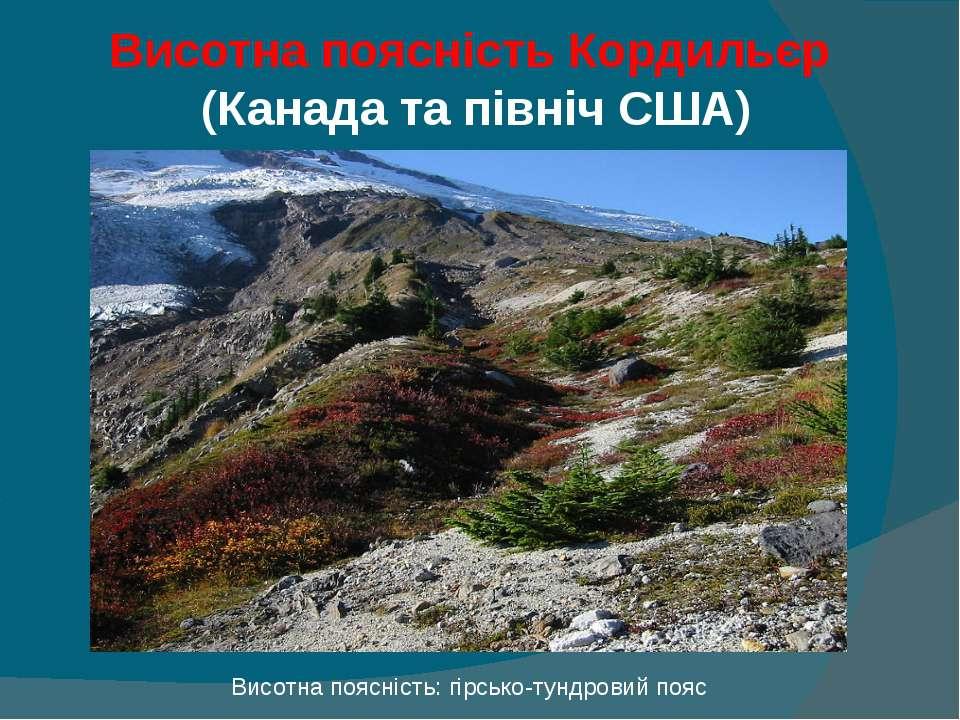 Висотна поясність Кордильєр (Канада та північ США) Висотна поясність: гірсько...