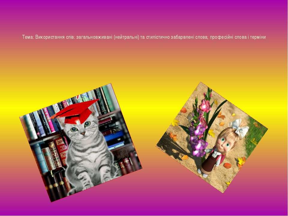 Тема: Використання слів: загальновживані (нейтральні) та стилістично забарвле...