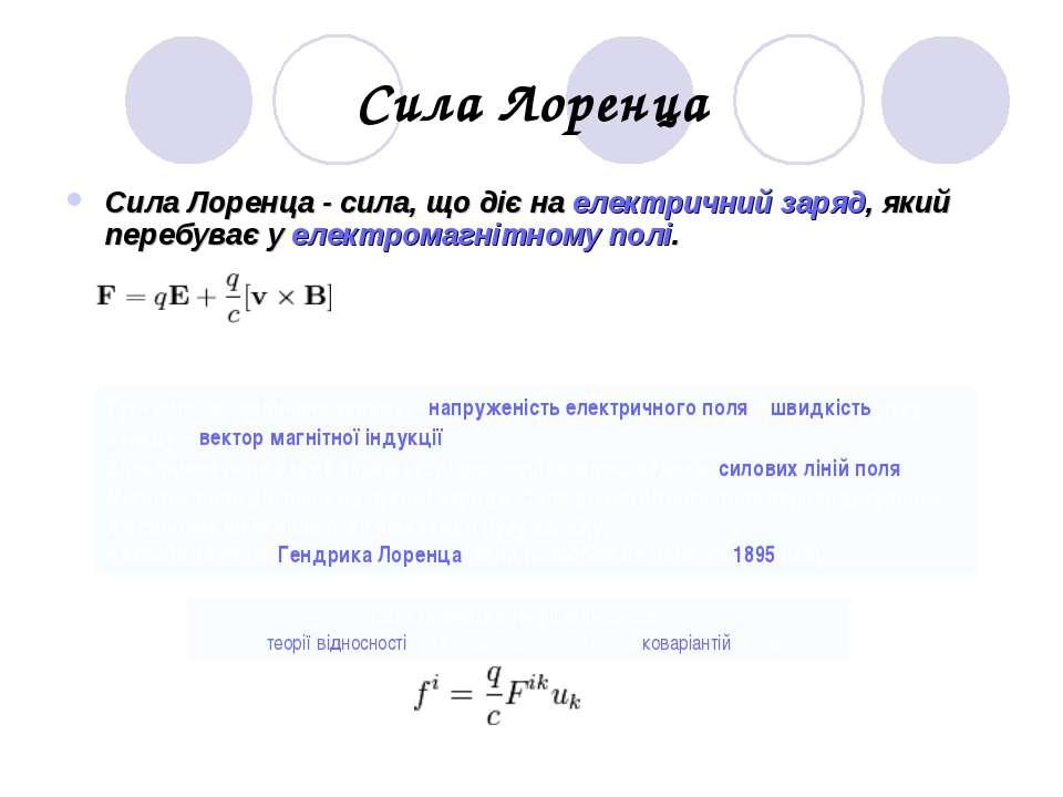 Сила Лоренца Сила Лоренца - сила, що діє на електричний заряд, який перебуває...