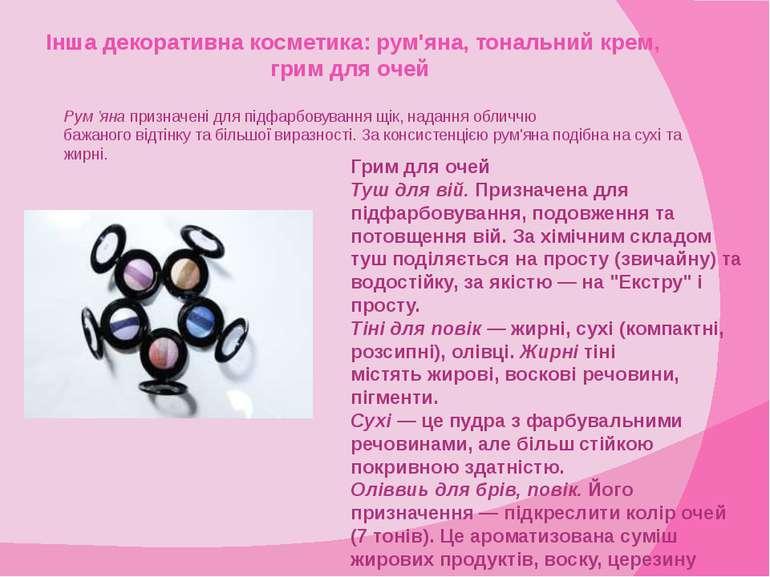 Інша декоративна косметика: рум'яна, тональний крем, грим для очей Рум 'яна п...