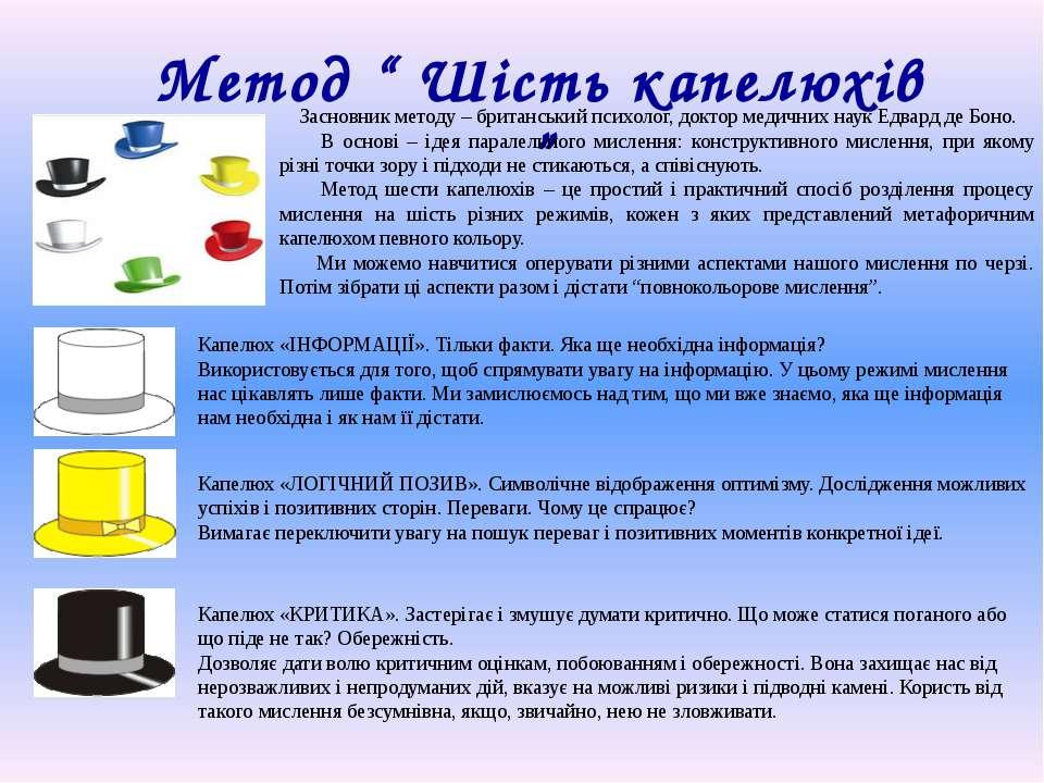 """Метод """" Шість капелюхів """" Засновник методу – британський психолог, доктор мед..."""