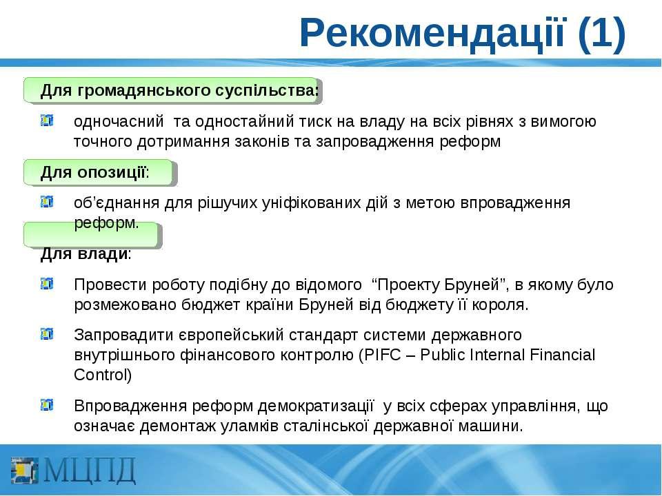 Рекомендації (1) Для громадянського суспільства: одночасний та одностайний ти...