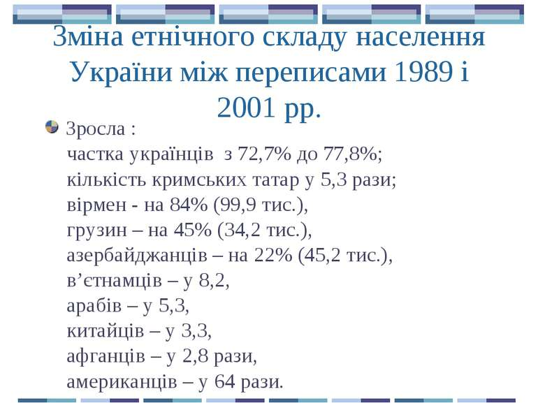 Зміна етнічного складу населення України між переписами 1989 і 2001 рр. Зросл...