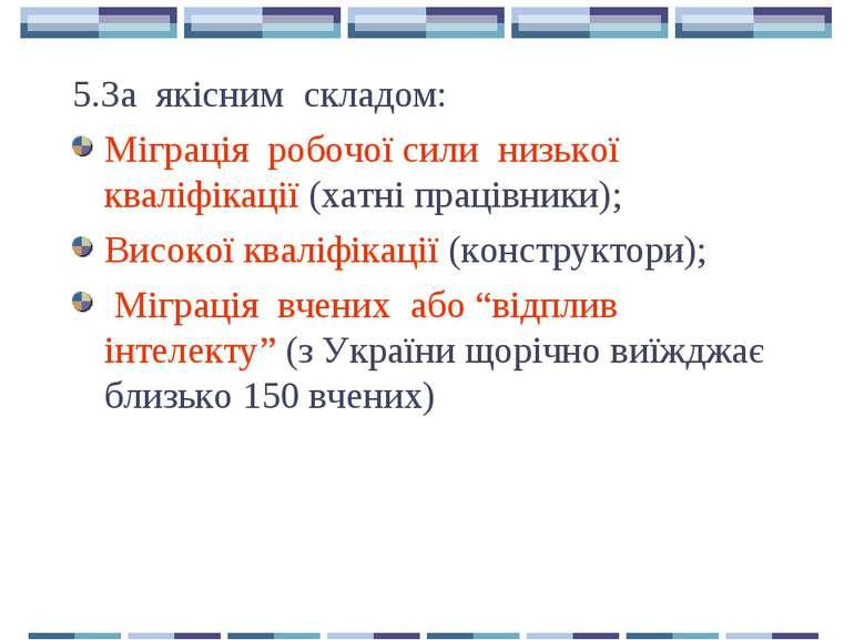 5.За якісним складом: Міграція робочої сили низької кваліфікації (хатні праці...