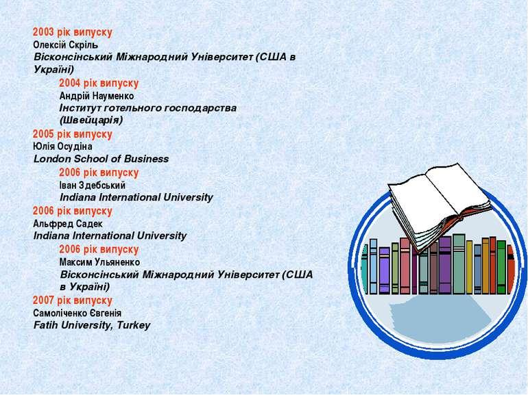 2003 рік випуску Олексій Скріль Вісконсінський Міжнародний Університет (США в...
