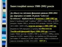 Інвестиційні шоки 1980-2002 років До обвалу на світових фондових ринках 2000-...