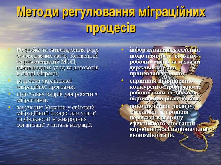 Методи регулювання міграційних процесів Розробка та затвердження ряду законод...