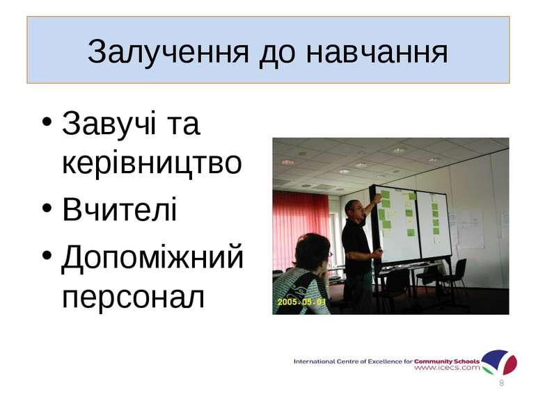 Залучення до навчання Завучі та керівництво Вчителі Допоміжний персонал *