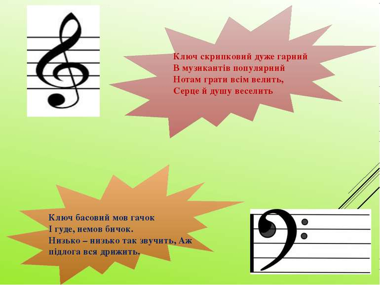 Ключ скрипковий дуже гарний В музикантів популярний Нотам грати всім велить, ...