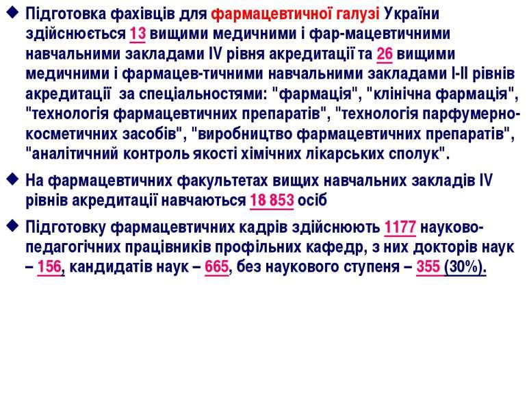 Підготовка фахівців для фармацевтичної галузі України здійснюється 13 вищими ...